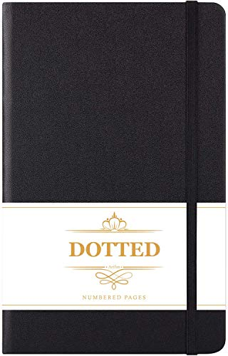 Bullet Dotted Journal - Numbered & Index Pages Hard Cover Notebook, Thick Paper with Inner Pocket & 2 Bookmarks, Smooth Faux Leather with Label, 5.25' x 8.25' - Black by Artfan