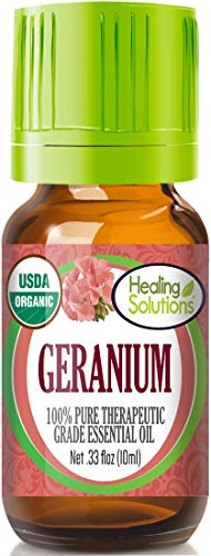 Organic Geranium Essential Oil (100% Pure - USDA Certified Organic) Best Therapeutic Grade Essential Oil - 10ml