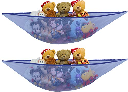 2 PK - SimpleHouseware Stuffed Animals Jumbo Toy Storage Hammock, Dark Blue