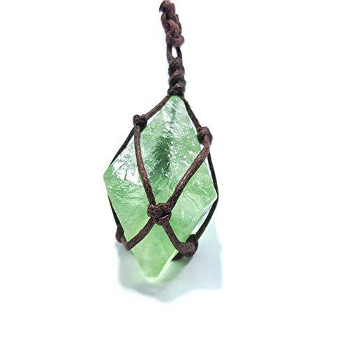 ACEACE Esmeralda Natural de Cristal Colgante de Piedras Preciosas DT Varita Reiki Verde Fluorita Wrap Trenza Collar de Macrame for Hombres Mujeres