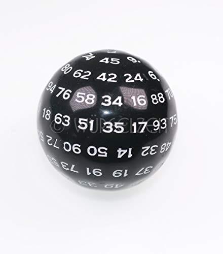 Würfelzeit 9401 - Würfel w100 schwarz m/Weiss (1 Zahlenwürfel im Polybeutel)