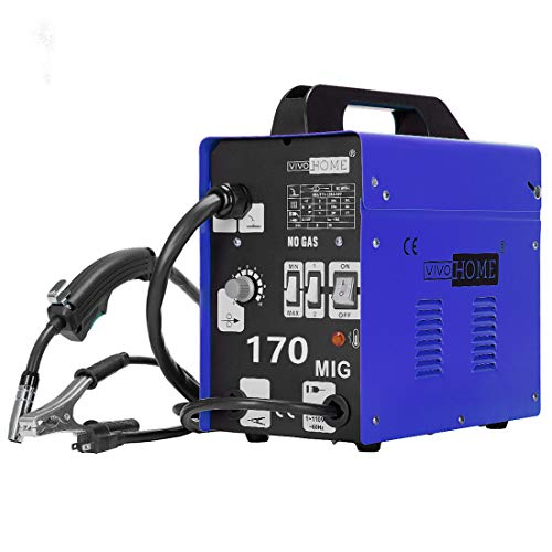 VIVOHOME MIG Welder 170 Flux Core Wire Automatic Feed Welding Machine Portable No Gas AC 110V 80-150A DIY Home Welder w/Free Mask Blue