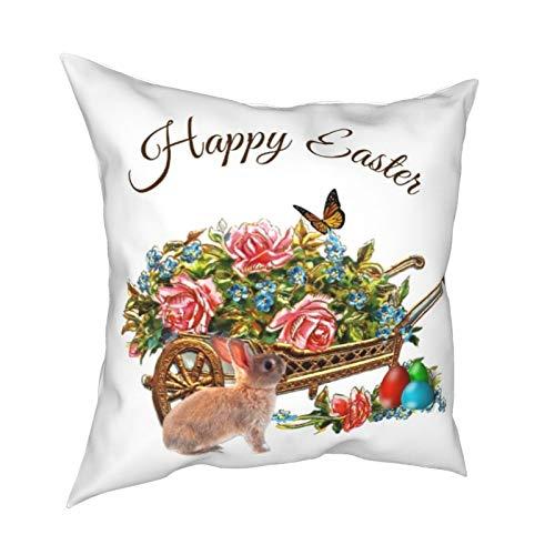 Funda de almohada de 45,7 x 45,7 cm, diseño vintage de carretilla de Pascua, estilo retro, para decoración del hogar, sofá y cama, sofá