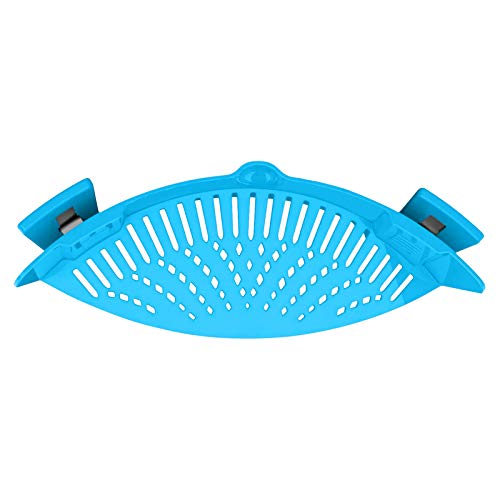 Hovico Clip on Strainer, Clip On Pasta Strainer Silicone, Silicone Food Strainer Hands-Free Pan Strainer Fits all Pots and Bowls, Snap On Drainer for Pasta, Meat, Vegetables, Fruit (Blue)