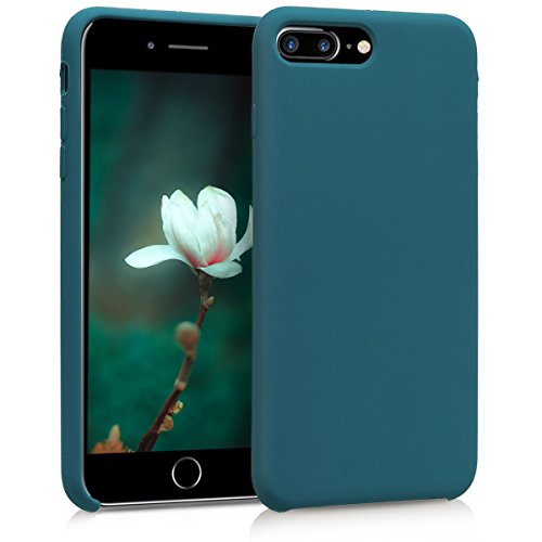 kwmobile Cover Compatibile con Apple iPhone 7 Plus / 8 Plus - Custodia in Silicone TPU - Back Case Protezione Cellulare Petrolio Matt