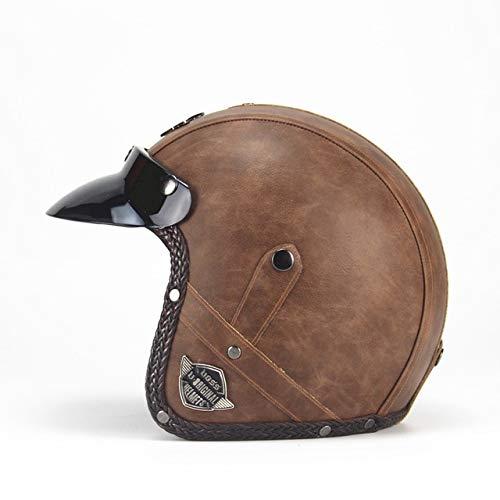 IAMZHL Helme 3/4 MotorradFahrradhelm Vintage Motorradhelm mit offenem Gesicht und Schutzbrillenmaske-VS Old brown-0-XXL