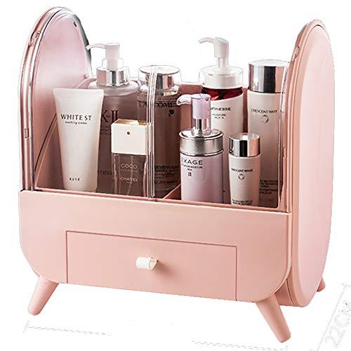 Boîte de rangement pour cosmétiques, coiffeuse, cosmétique, bijoux, cosmétiques, présentoir avec poignée, étanche, anti-poussière, haute capacité, plusieurs couleurs, rose, 35 x 34 cm