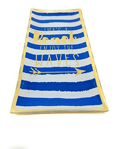Plateau Beach Waves - En porcelaine - À rayures bleues et blanches - 10 x 21 cm