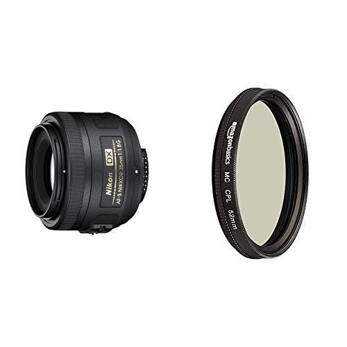 Nikon Obiettivo Nikkor AF-S DX 35 mm f/1.8G, [Nital Card: 4 Anni di Garanzia], Nero & Amazon Basics - Polarizzatore circolare - 52mm