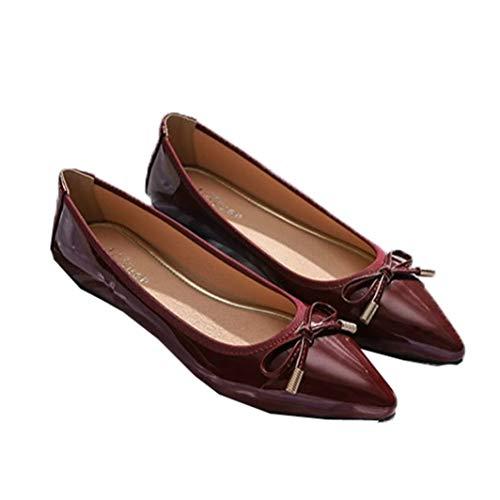 Mocasines De Punta Puntiaguda para Mujer Slip On Bowknot Zapatos Náuticos Boca...