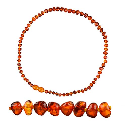 """Lateefah Baltic Amber Necklace - 13""""(Cognac) Unisex - 100% Baltic Amber Jewelry"""