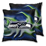 Stockdale Seattle Seahawks Throw Pillow Covers Set of 2,American Football Design Decorative Square Pillowcase Cushion Covers for Sofa Bedroom Car Decorative 16 x 16 inche