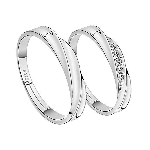WikiMiu Anillos de parejas, Plata de 925, Anillos de zirconia cúbica, tamaño ajustable, regalo perfecto para el día de San Valentín hombres + mujeres, Plata