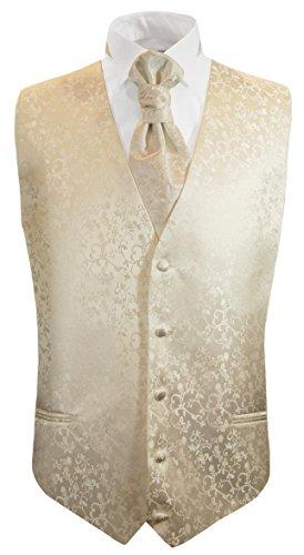 Paul Malone Hochzeitsweste + Plastron Champagner floral - Herren Hochzeit Weste Gr. 56 XL