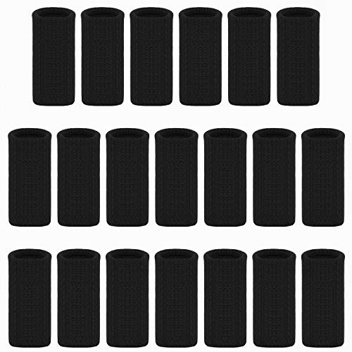 Ancefine Elastic Finger Sleeves/Thumb Braces Support/Compression Protector Braces for Relieving Pain Calluses Arthritis Knuckle,20Pcs (Black)