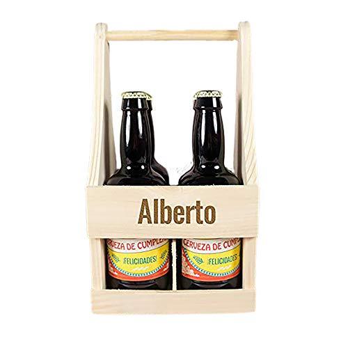Pack de cervezas personalizadas para cumpleaños en estuche de madera también personalizado