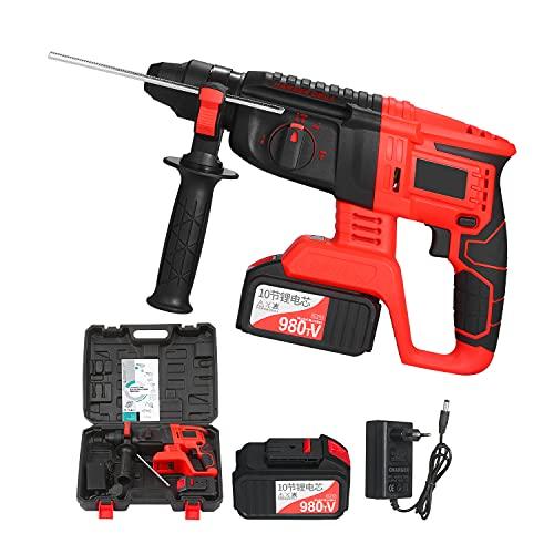 Martillo perforador inalámbrico sin escobillas de 21 V, kit de martillo de impacto de velocidad variable SDS Plus de 1 pulgada, batería de 20000 mAh, 4 funciones, mango ajustable de velocidad