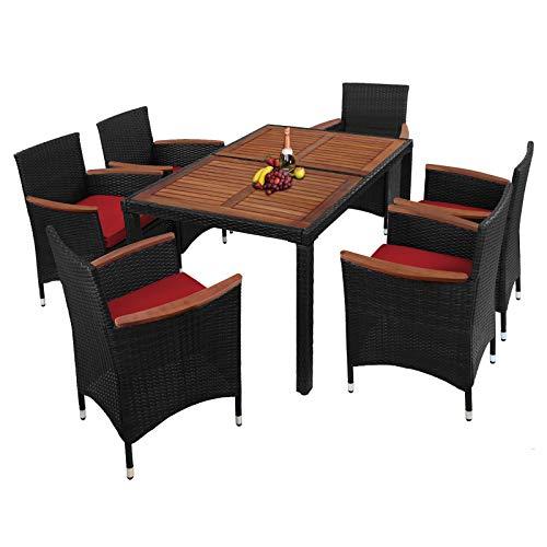 Montafox 13-teilige Polyrattan Garten Essgruppe Terasse Sitzgruppe mit Akazienholz 6 Personen Gartenmöbel mit Kissen und Bezügen ; Titan-Schwarz/Abendsonne