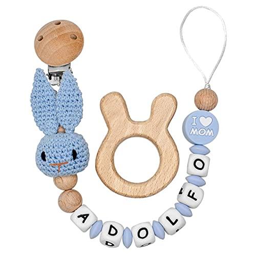 RUBY - Chupetero Personalizado Para Bebe Cadena Chupete con Nombre Bola Silicona Antibacteriana con Pinza de Madera, Chupetero de Conejo de Crochet (Azul)