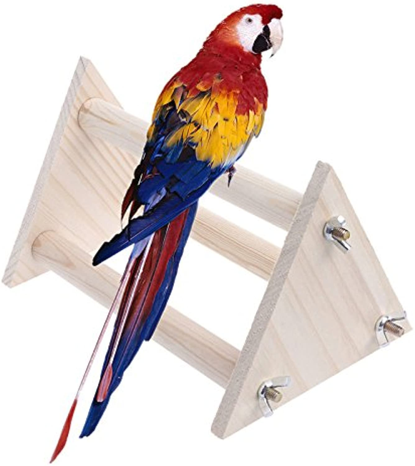 Funny Parred Bird Perch Stand Play Toys Gym Wooden Activity Table Top Playstand