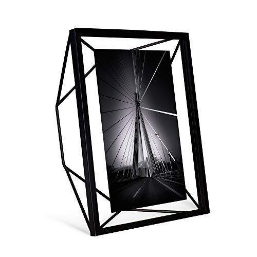 Gadgy Prisma Bilderrahmen Schwarz 20 x 15 cm. | Stehender Tischrahmen | Wanddekoration Wohnzimmer - Tischrahmen oder als Wand Deko