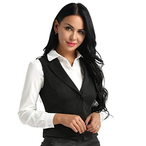 Agoky Chaleco Mujer Chica Vestimenta Classico Traje Formal de Fiesta Ceremonia Bautizo Boda Algodón Camisa sin Mangas V Cuello Botones Uniforme Camarera Suit Vest Waistcoat Negro Small