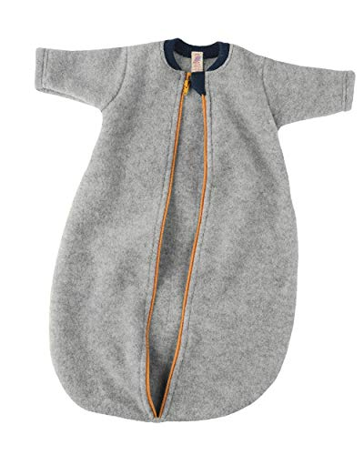 Engel Baby Schlafsack Langarm Wollfleece, 50-56/50/56 Kinder, hellgrau Melange