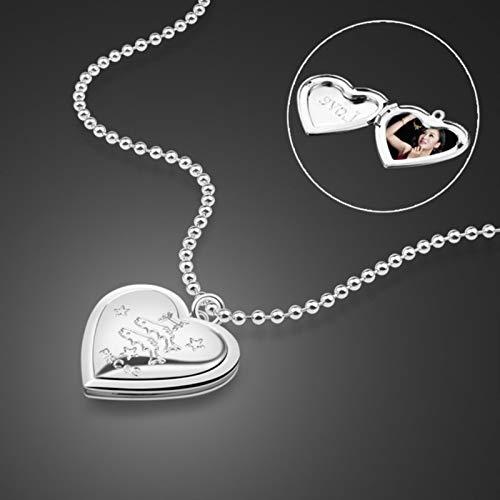 LPNJLALA Zwölf Sternbild Design Muster Herz Anhänger Halskette Sterling SilberRoségoldPhoto Box Anhänger Halskette, FischeSilber, 71cm