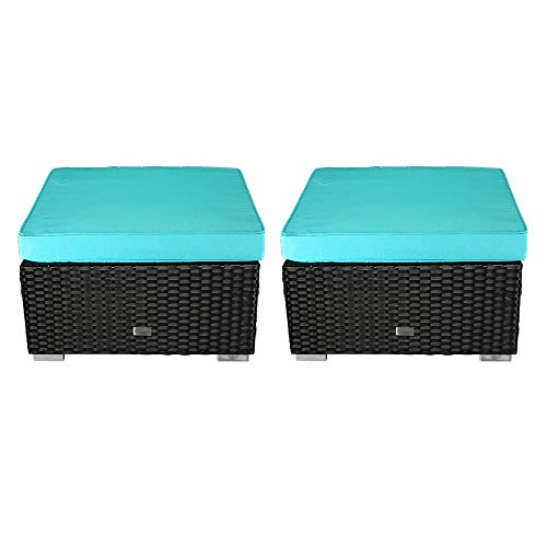 eclife Patio Foot Stool Outdoor Rattan Sofa PE Wicker Black Sofa Couch Furniture Removable Cushions Ottoman (2PC Turquoise)