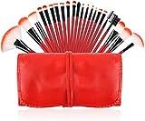 XZM Juego de Pinceles de Maquillaje, Pincel de Maquillaje Rojo 22pcs Foundation Pinceles de Sombra de Ojos Kabuki Blush Fan