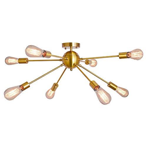 8 Light Sputnik Chandelier Brushed Brass Rustic Flush Mount Ceiling Light Gold Modern Pendant Lighting Fixtures for Kitchen Bathroom Dining Room Bedroom Hallway (8C Lights-Brass)