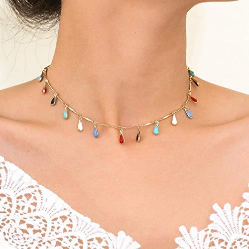 Sethain Boho Rosario Gargantilla Collar Oro soltar Colgante Cadena Con cuentas Corto Collares Joyería para mujeres y niñas