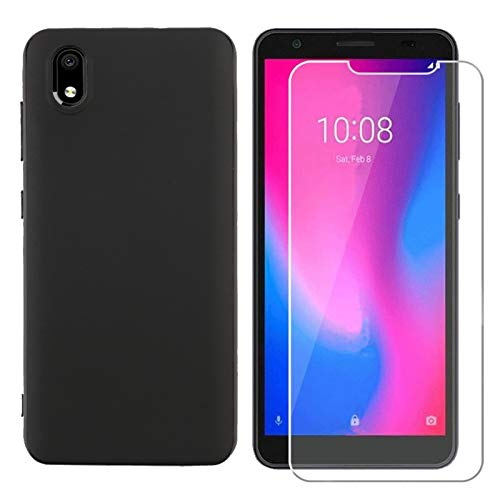 Strug for ZTE Avid 579 / ZTE Blade A3 2020 Case, Soft TPU Rubber Slim Anti-Scratch Shockproof Protection Case with Tempered Glass Screen Protector for ZTE Avid 579(Black)