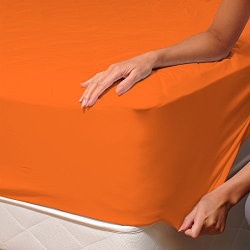 SoulBedroom Orange (Naranja) 100% Algodón Sábana Bajera Ajustable 150x200 cm