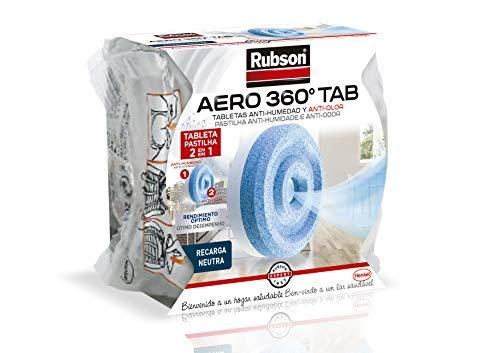 Rubson AERO 360° Tableta de recambio de olor neutro, absorbe humedad y neutraliza malos olores, recambios Rubson para deshumidificador AERO 360º (1 x 450 g)
