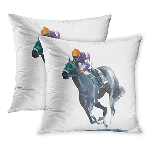 N / A Throw Pillow Cover Pack of 2, Race Horse Racing Jockey Competition Black Watercolor Painting Action Drawing Animal Color Derby Home Decor Square Size 18 x 18 Inches Cushion Pillowcase