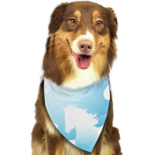 Gevleugelde paard blauwe sterrenhemel maan aangepaste hond kat hoofddoek halsdoek set geschikt voor kleine tot grote hond katten