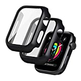 seacosmo [2 Pack] Funda Anti-arañazos General para Apple Watch 44 mm Series SE/6/5/4 [con Vidrio + TPU Protectora de Pantalla Integrados] Antigolpes PC Protector Apple Watch 44mm - Negro