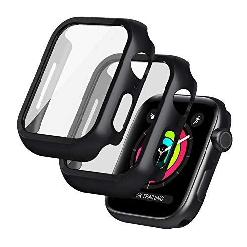 Seacosmo 2 Pezzi Cover Apple Watch 44mm Serie 5/4/6/SE, Rigida+HD+Bubble-Free TPU Pellicola Protettiva, Copertura Completa Schermo Protezione, Apple Watch Accessori Nero