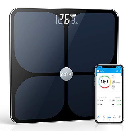 Báscula de grasa corporal, báscula de peso digital Roffie, analizador de composición corporal inteligente de BMI inteligente, monitor de salud de alta precisión de 400 libras con vidrio templado, sincronización con aplicación para smartphone, color negro