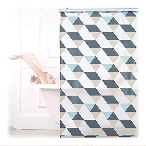 Relaxdays Duschrollo, 100x240 cm, Dreieck Muster, Seilzug, Flexible Montage, Duschvorhang für Badewanne und Fenster, bunt