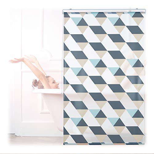 Relaxdays Cortina de Ducha, 100 x 240 cm, diseño Triangular, Cuerda de tracción, Montaje Flexible, Cortina de Ducha para bañera y Ventana, Multicolor
