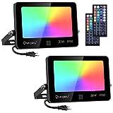 Onforu 2 Pack 30W Foco RGB Led Exterior, Foco de Colores con Control Remoto, Proyector RGB de 20 Colores y 6 Modos, IP66 Impermeable Reflector Led RGB, Función de Memoria para Fiesta Jardín Navidad