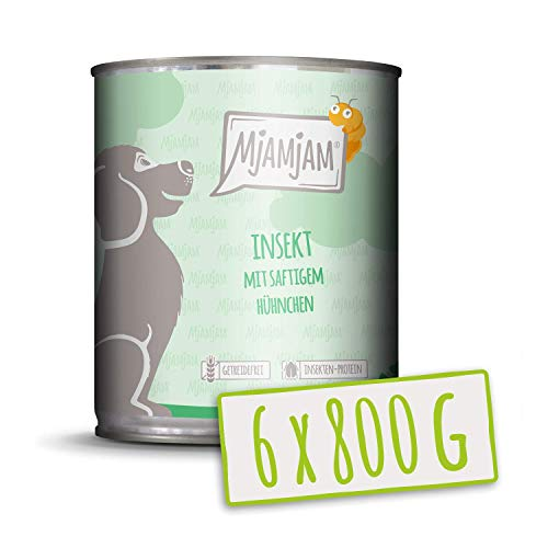 MjAMjAM - Pienso acuoso para Perros - Insectos con Pollo jugoso - Sin Cereales - 6 x 200 g