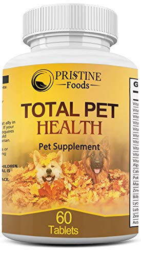 Pet Multivitamin Total Health Supplement for Cats & Dogs Bone Coat Joint Immune Digestion Support with Zinc Calcium B Vitamins 60 Chewable Nutrition Tablets Made in USA