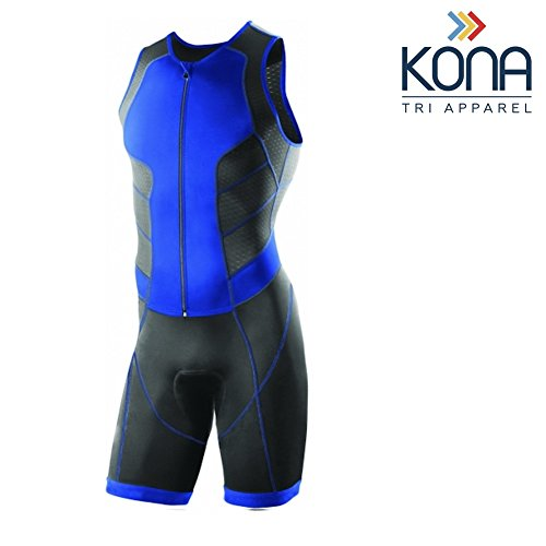 Kona Men's Triathlon Race Suit - Wetsuit Skinsuit Trisuit Sleeveless - One-Piece Vest and Short Combo That Half zips with a Rear Pocket for Storage (Blue, X-Large)