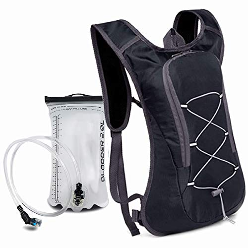 MB52 Mochila de hidratación para hombre y mujer – Mochila ligera para bicicleta (volumen de 8 l) con bolsa de hidratación de 2 L – para deportes y actividades al aire libre (negro)