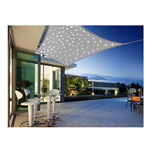 Sonnensegel Mit LED Beleuchtung Aus Solarenergie Sonnenschutz Für Garten Oder Terrasse Luftdurchlässig Und Atmungsaktiv (Hellgrau Rechteck 4x3m)