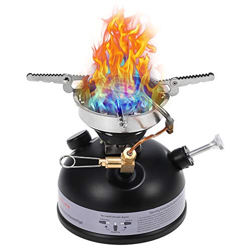 Portable Outdoor Camping Mini Gasoline Stove Liquid Fuel Alcohol Diesel Oil Stove Compact Mini Cooking Stove for Outdoor Hiking Backpacking Emergency Kit Survival Gear