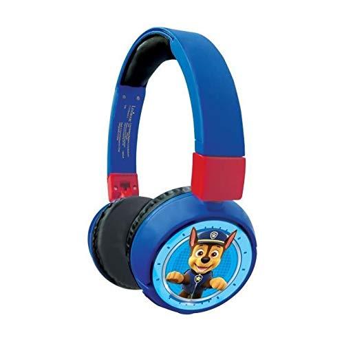 LEXIBOOK- Paw Patrol Auriculares Bluetooth 2 en 1-Estéreo inalámbrico, Seguro niñas, Plegable, Ajustable, Rojo/Azul